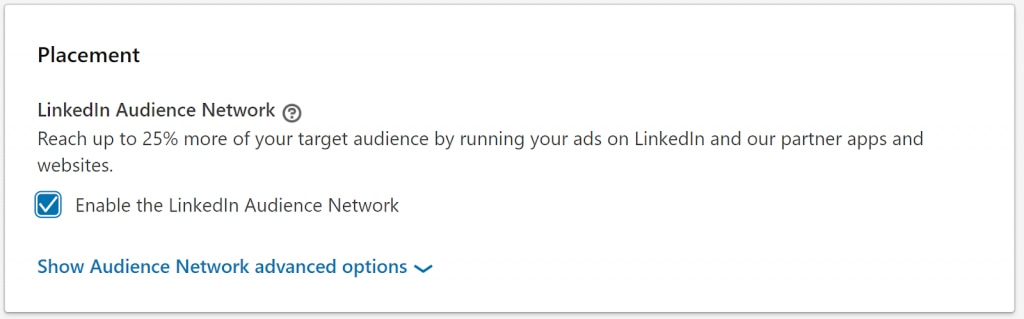 LinkedIn advertising placement.