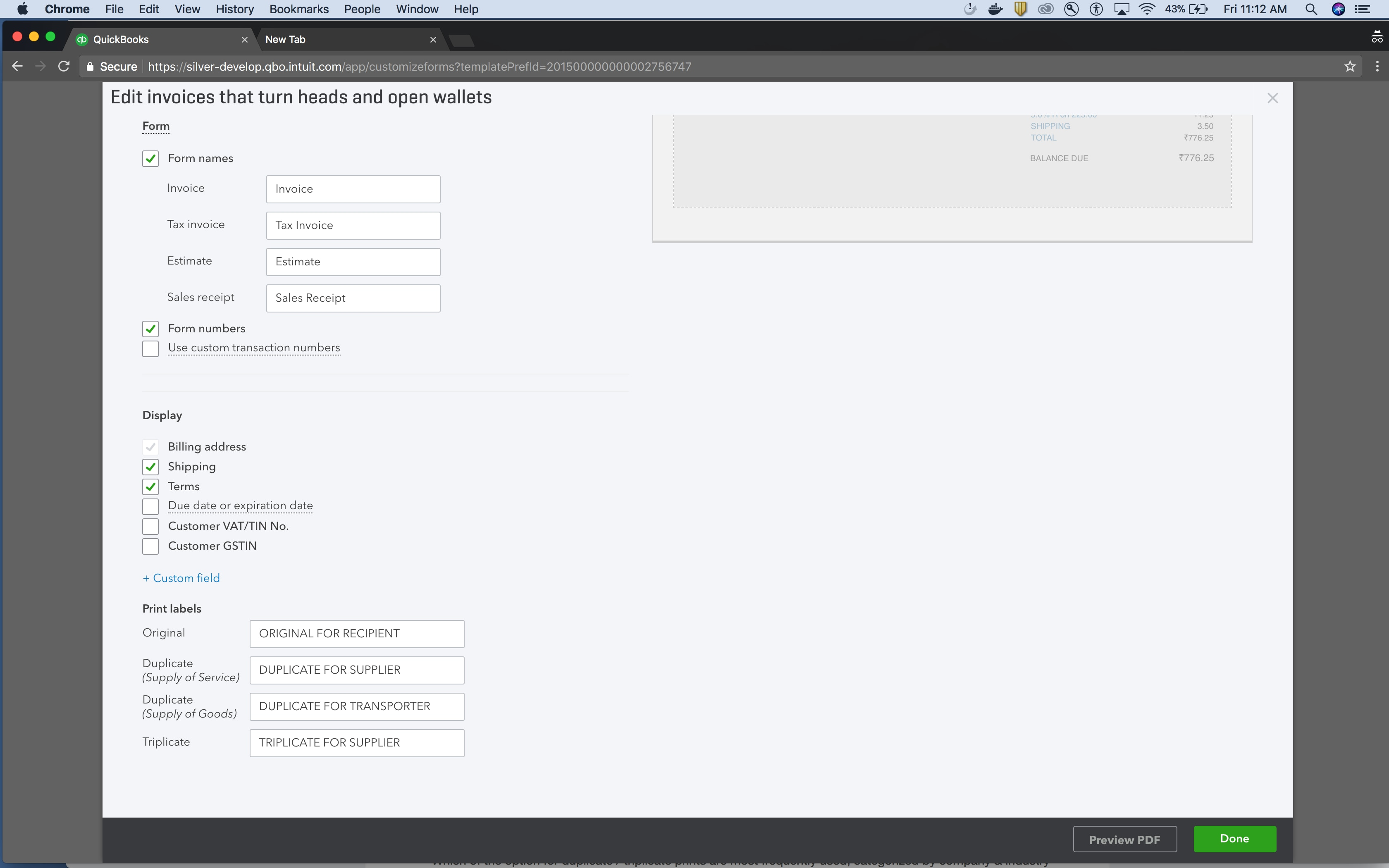 Invoice label customisation settings