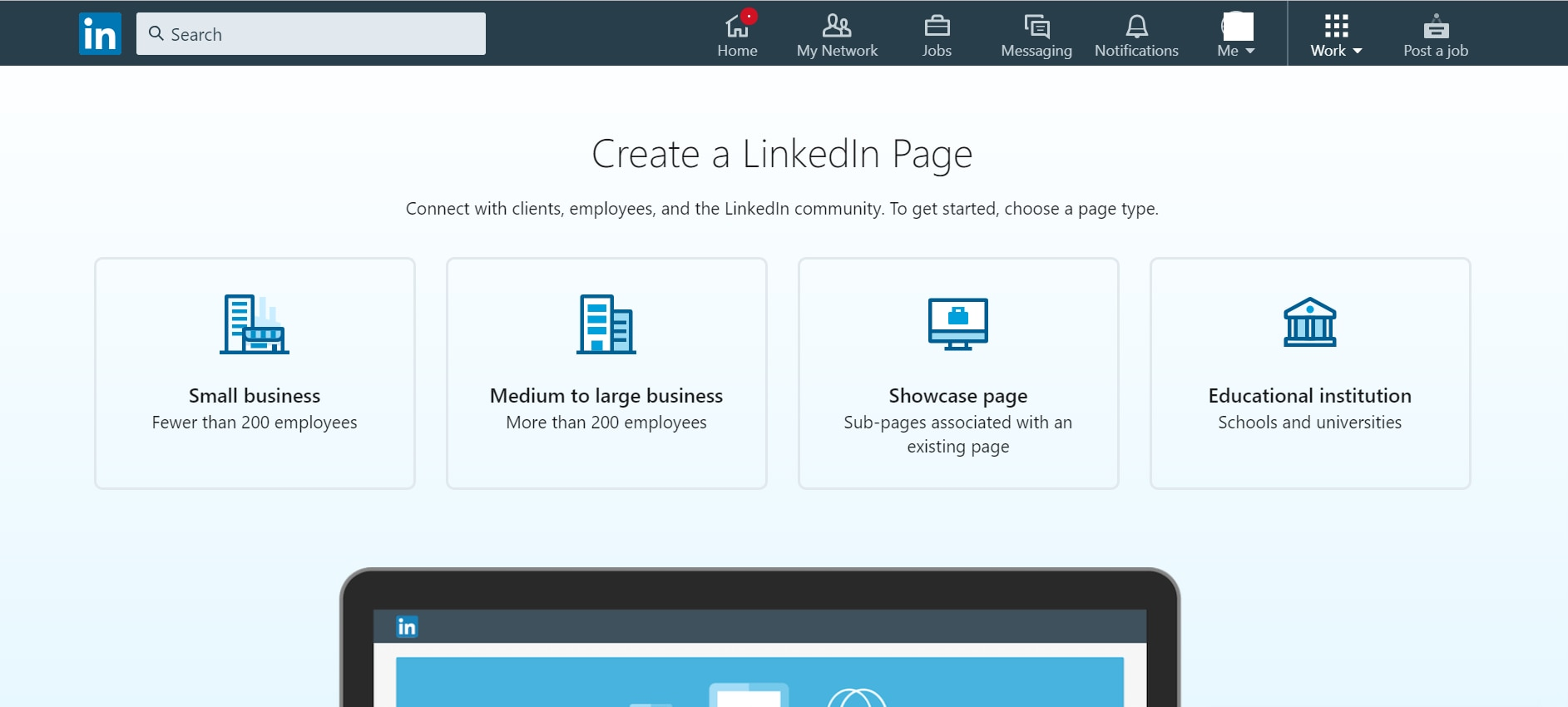 Next step in how to create a company page on LinkedIn is to choose a page type