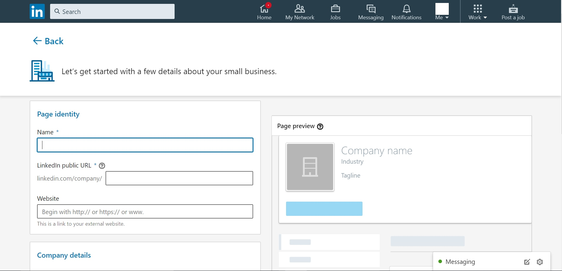 Next step in how to create a company page on LinkedIn is to fill the requisite information such as company name, URL, industry etc