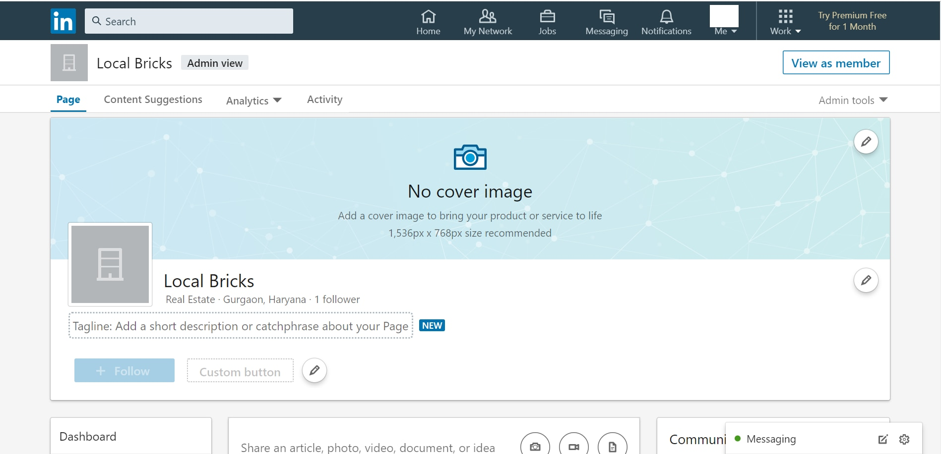 LinkedIn admin page depicting the drop down towards the top right of the page.