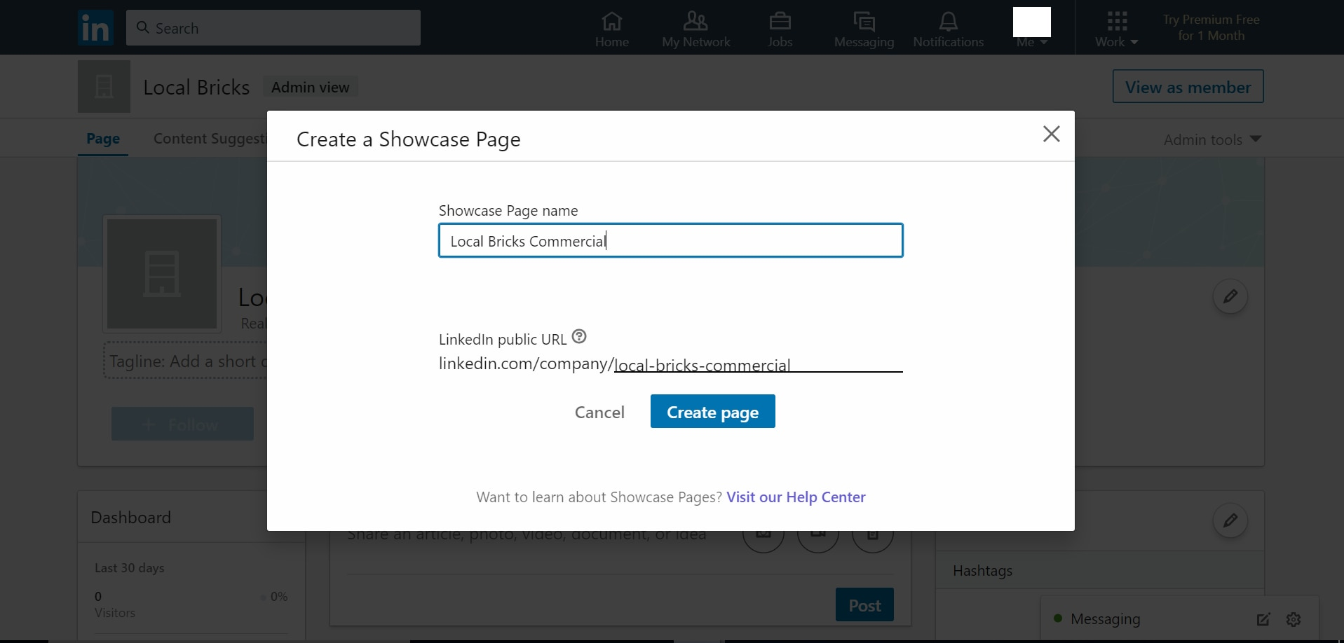 LinkedIn admin page showing various fields to be filled for creating LinkedIn Showcase Page