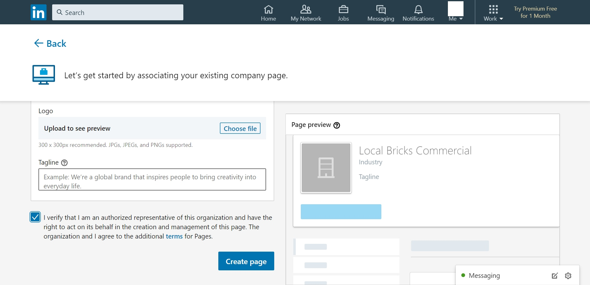 LinkedIn Page depicting the checkbox asking for verification of the person creating the LinkedIn Showcase Page as the representative of the company.
