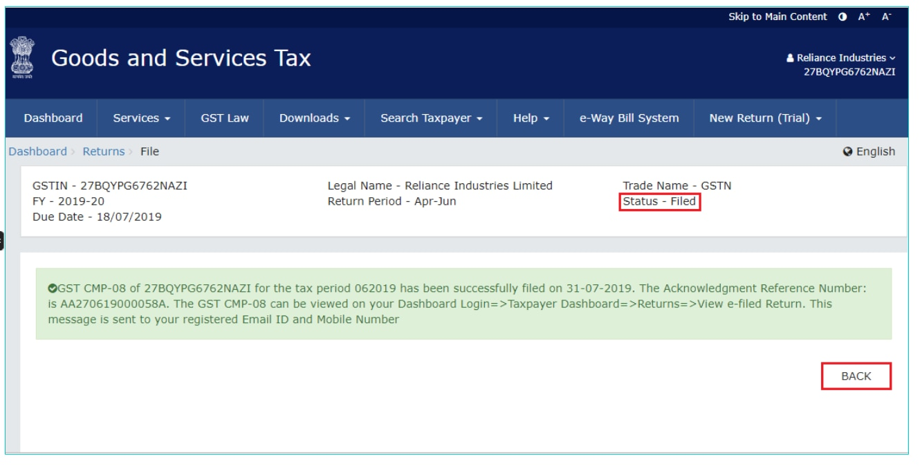 HOW TO FILE FORM GST CMP-08