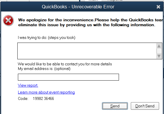 Solved: Unrecoverable Error 19982 36466 - QuickBooks Community
