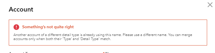 "Can't merge accounts with ""different"" detail type"