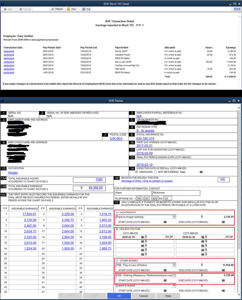 Record of Employment Block 17 - QuickBooks Community
