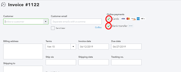 How do I accept ACH and CC payments for sent invoices, and have a