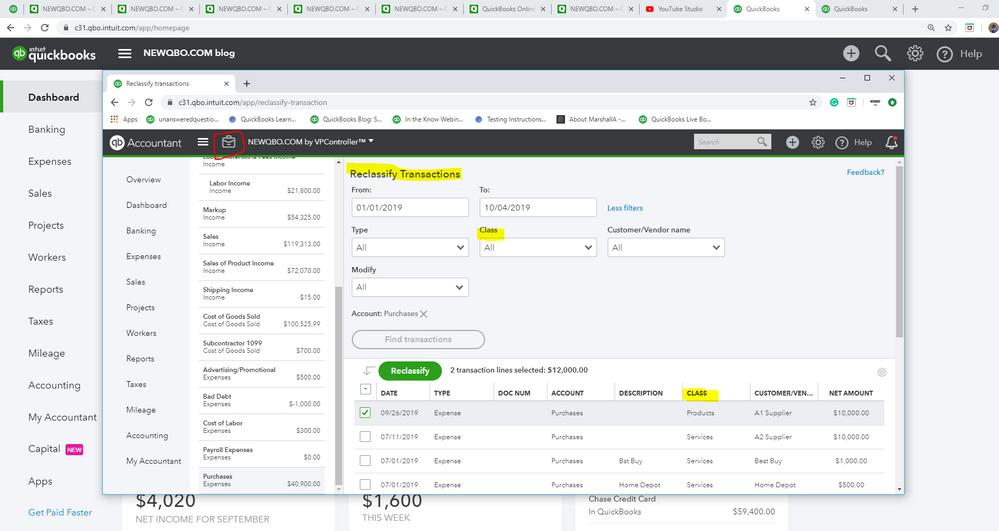 QBOA Toolbox - Reclassify Transactions