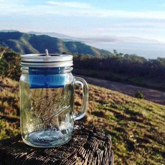 A Mason jar speaker in the wild (credit: @trashamps)
