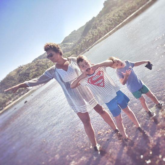 Free to roam the Australian beaches with her boys.