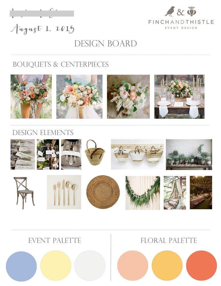A design board, part of the e-design package. (@finchandthistle)