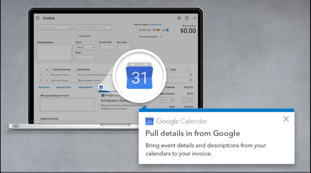 invoice with google calendar in quickbooks online synergise your