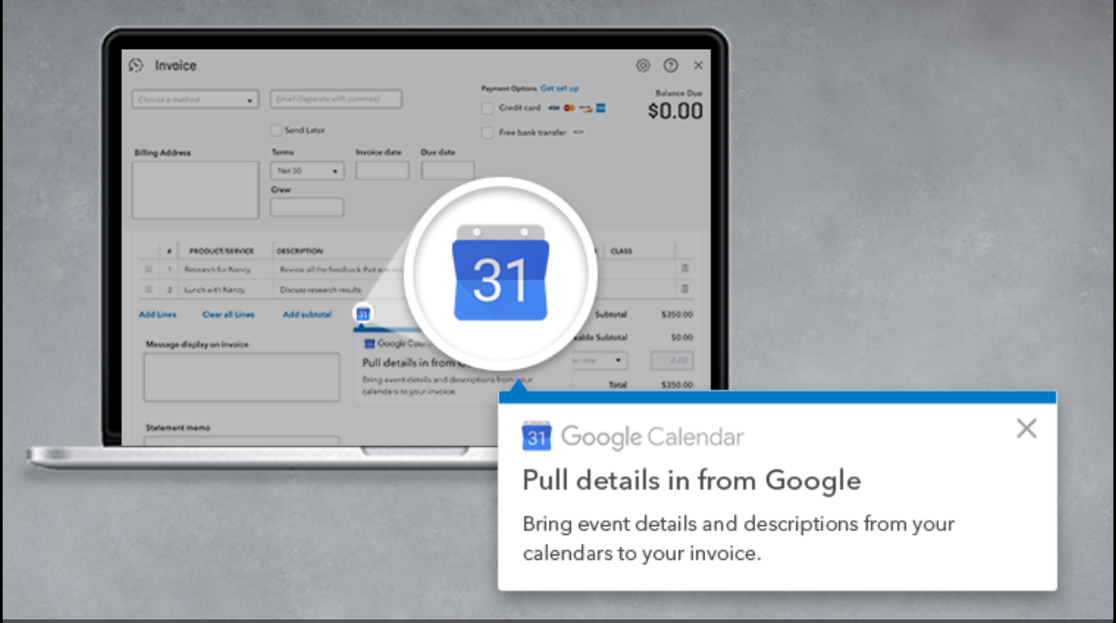 Invoice With Google Calendar In QuickBooks Online Synergise Your - Google invoice software