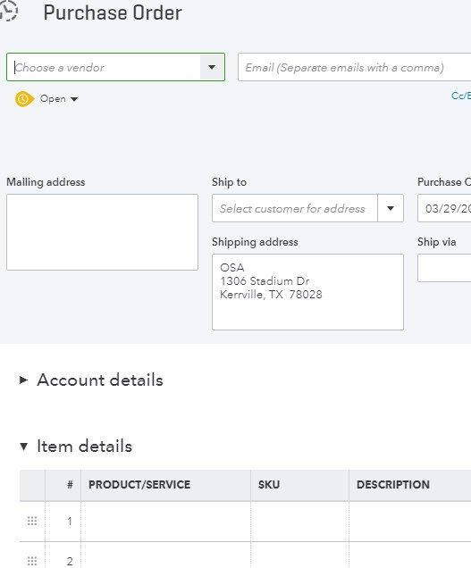 In QBO Plus the Purchase Order form has no column ... - QuickBooks ...