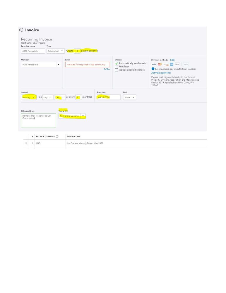 NPOA typical recurring invoice template