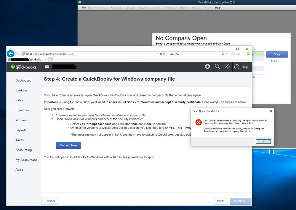 Solved Cannot Convert Quickbooks Online To Quickbooks Pro