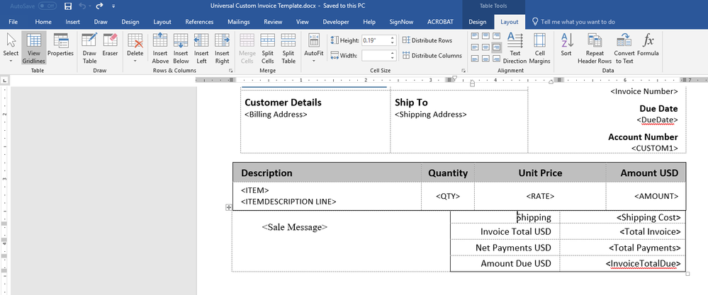 imported invoice template word quickbooks community