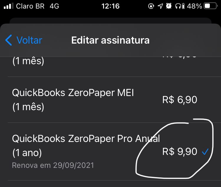 Assinatura pela AppStore