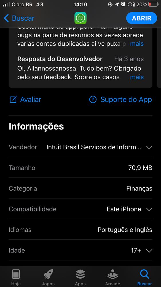 Página de direcionamento de suporte do App