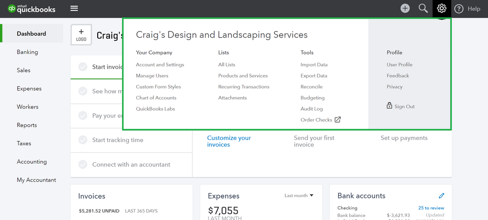 Setting up for Success in QuickBooks Online Navigation 5.PNG