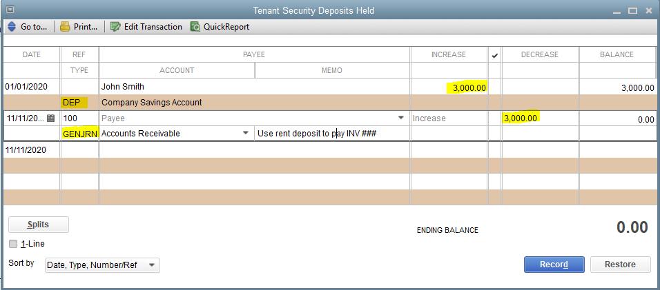 Tenant Security Deposits Held account.PNG