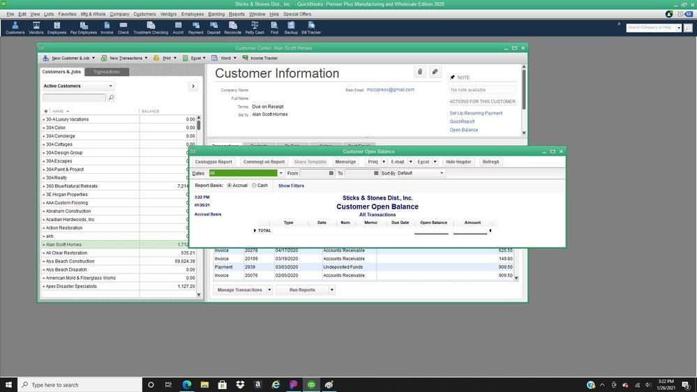 customer center open balance report is zero.jpg