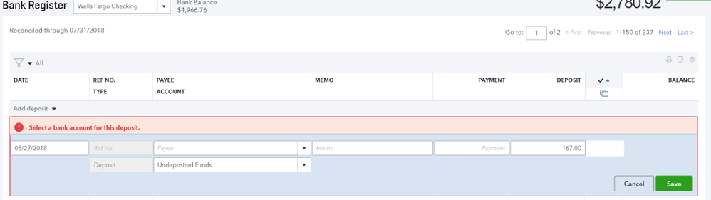 select a bank account for this deposit on regist quickbooks