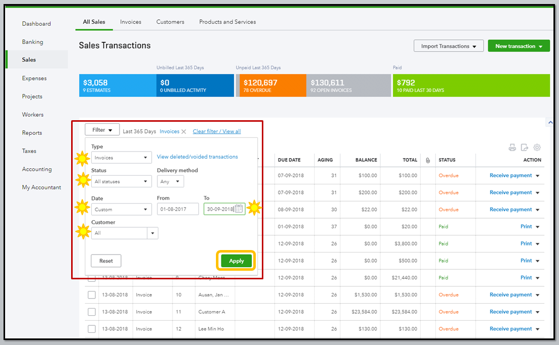 Solved Transaction Report Sorted By Invoice Number QuickBooks - Quickbooks invoice list report