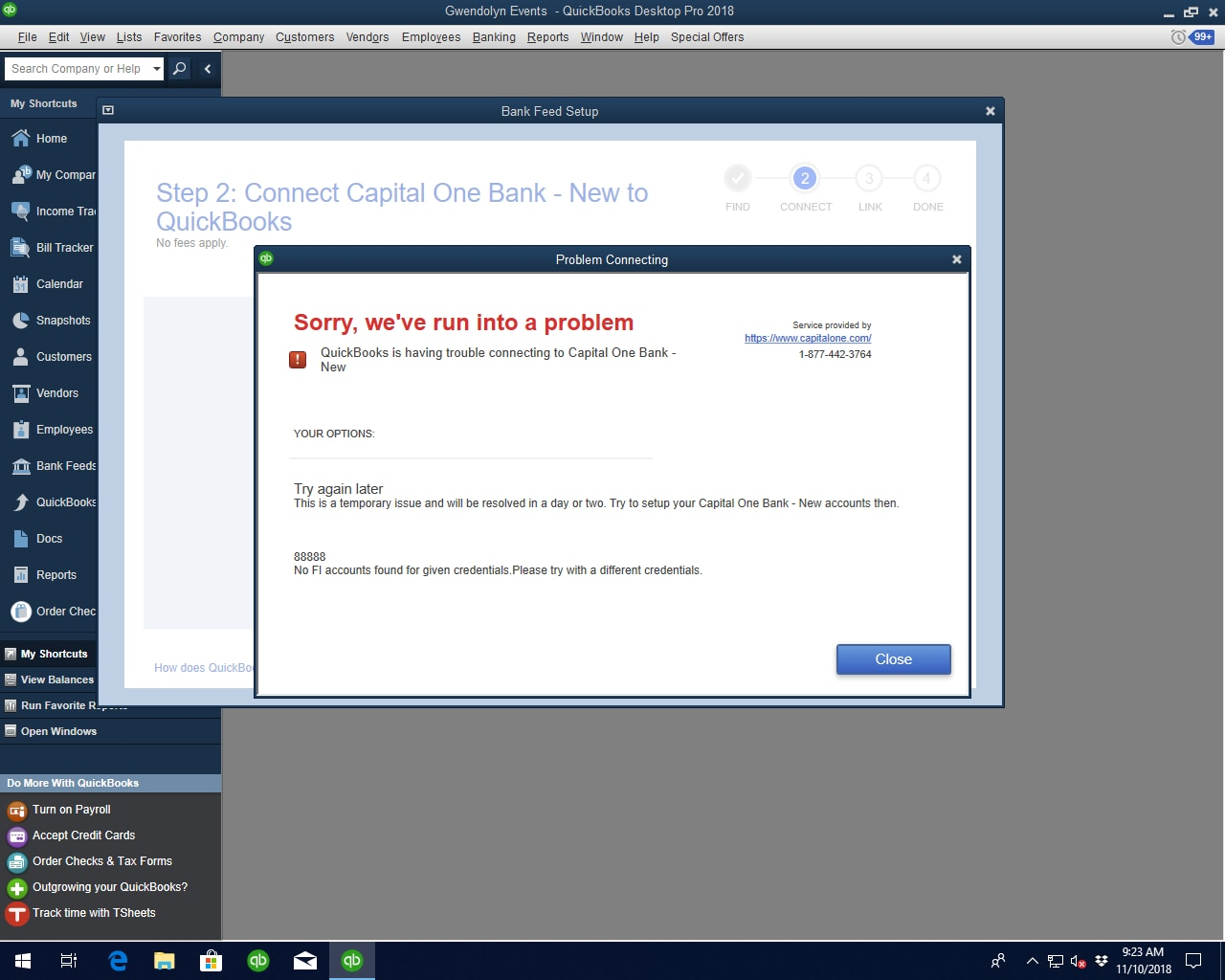 88888 Error when connecting to Capital One-New - QuickBooks