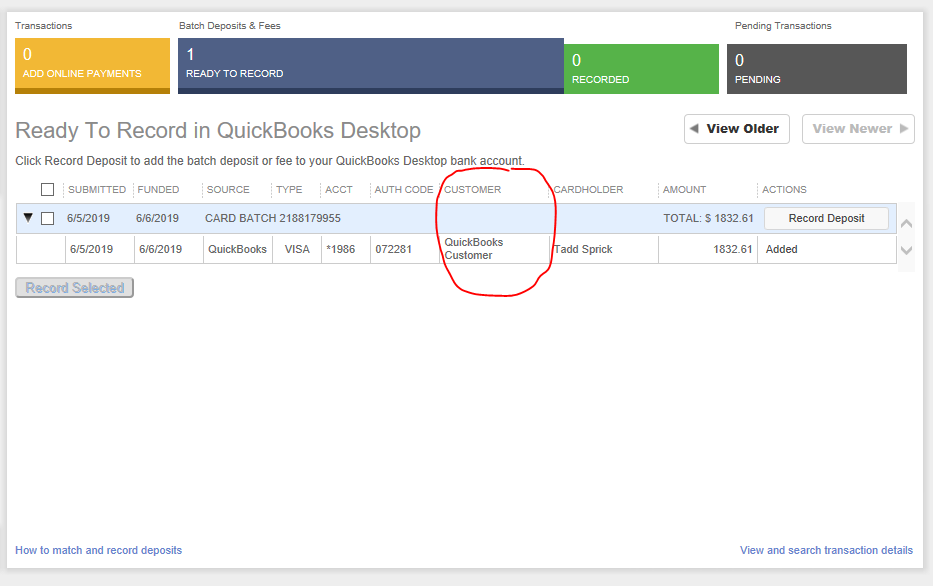 Credit Card payment went to Quickbooks customer - QuickBooks