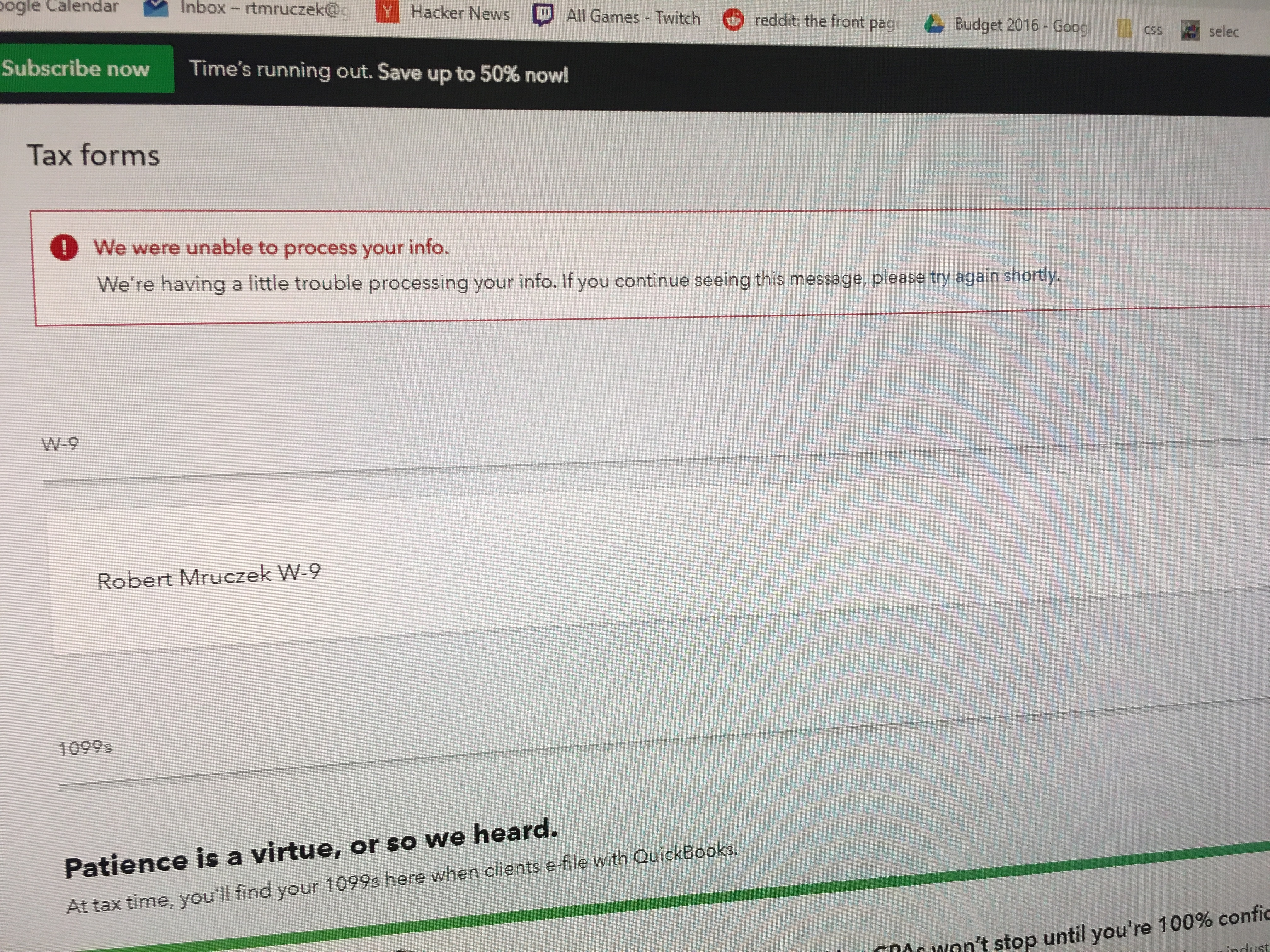 The W9 link I send to contractors does not work  It shows up in