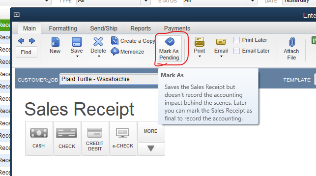 Solved: Can you make Sales Receipts default to pending