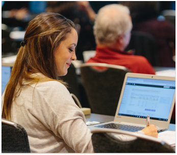 Accountant using QuickBooks Account University for training and certification.