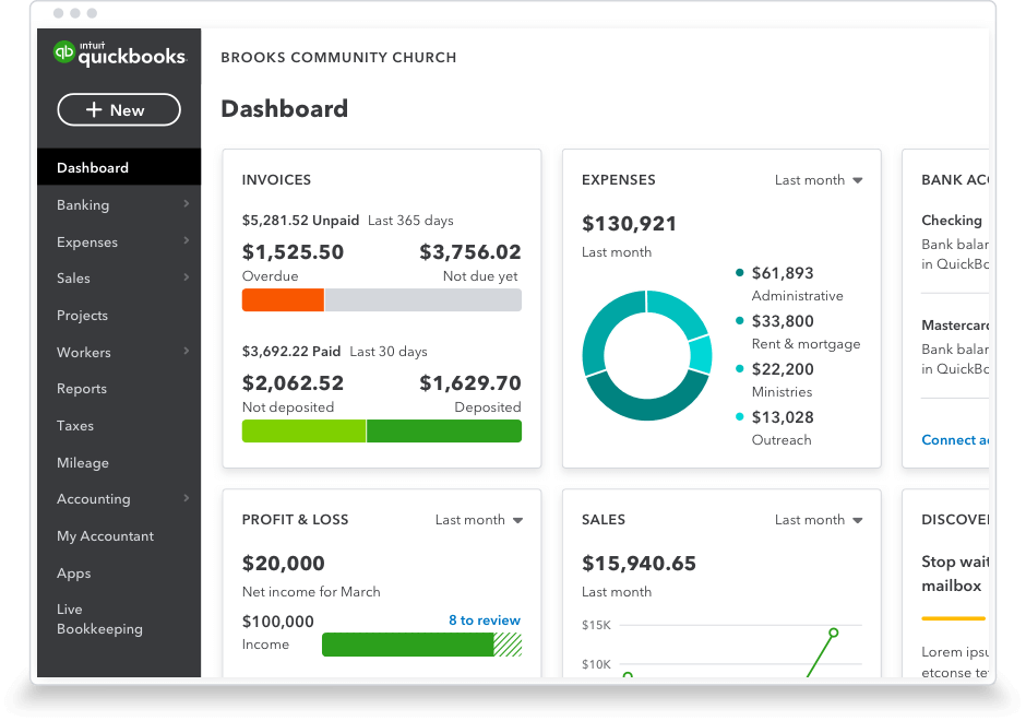 product image of quickbooks dashboard
