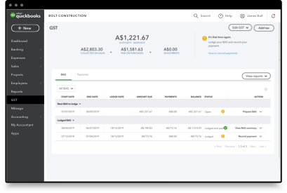 Easily track GST and automated BAS summary