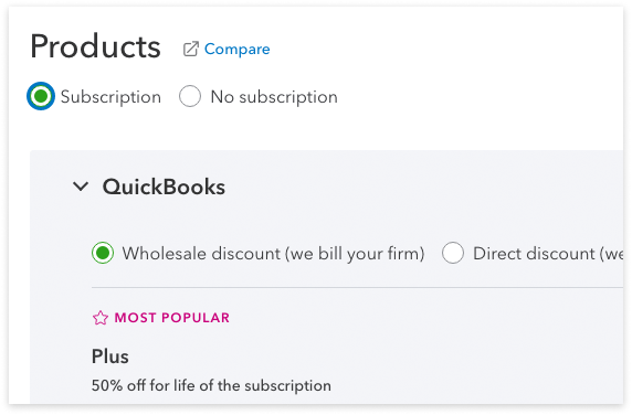 QuickBooks Online Accountant Select product and billing screenshot