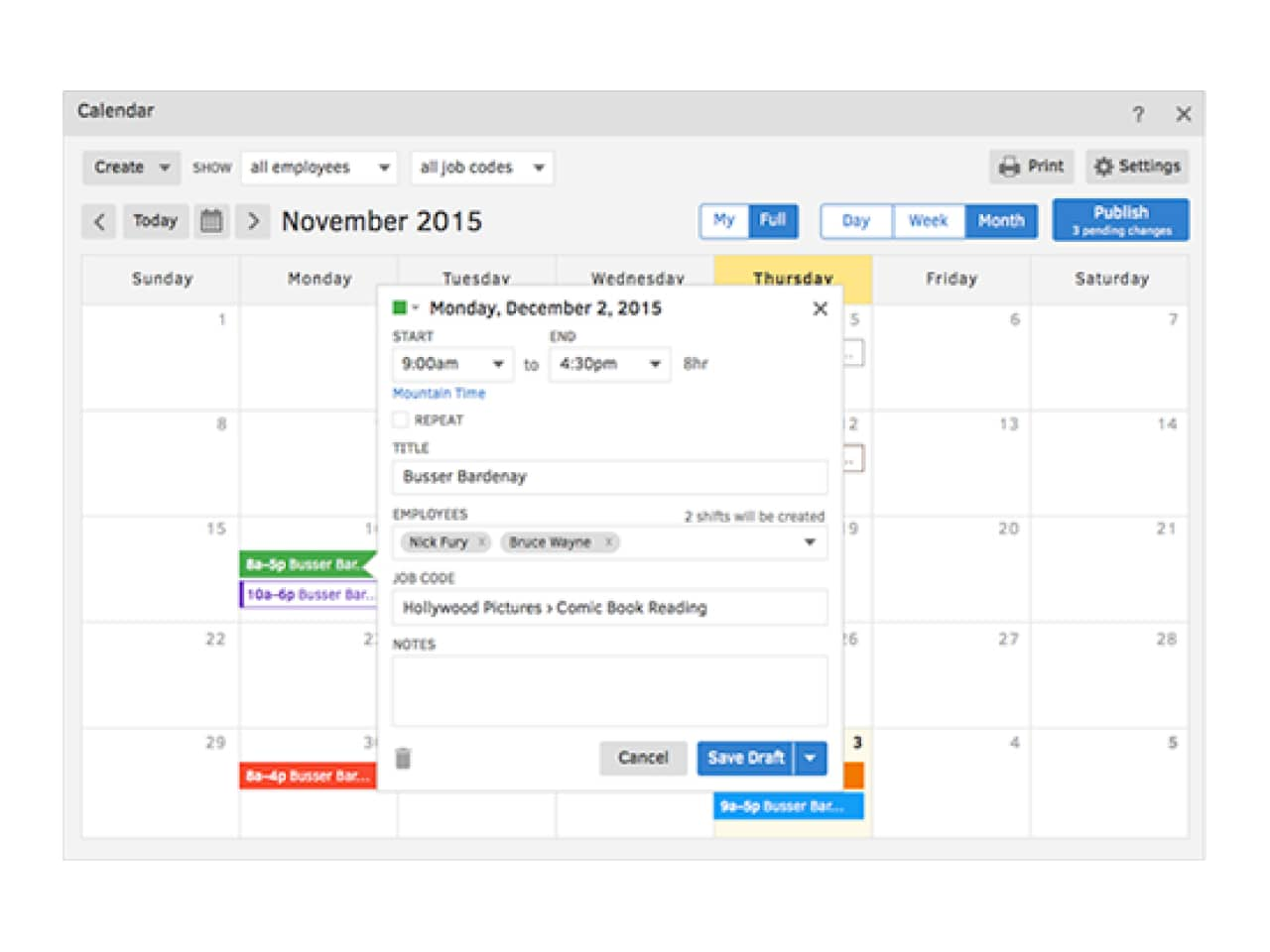 Image of a calendar showing you how you can schedule with QuickBooks Time