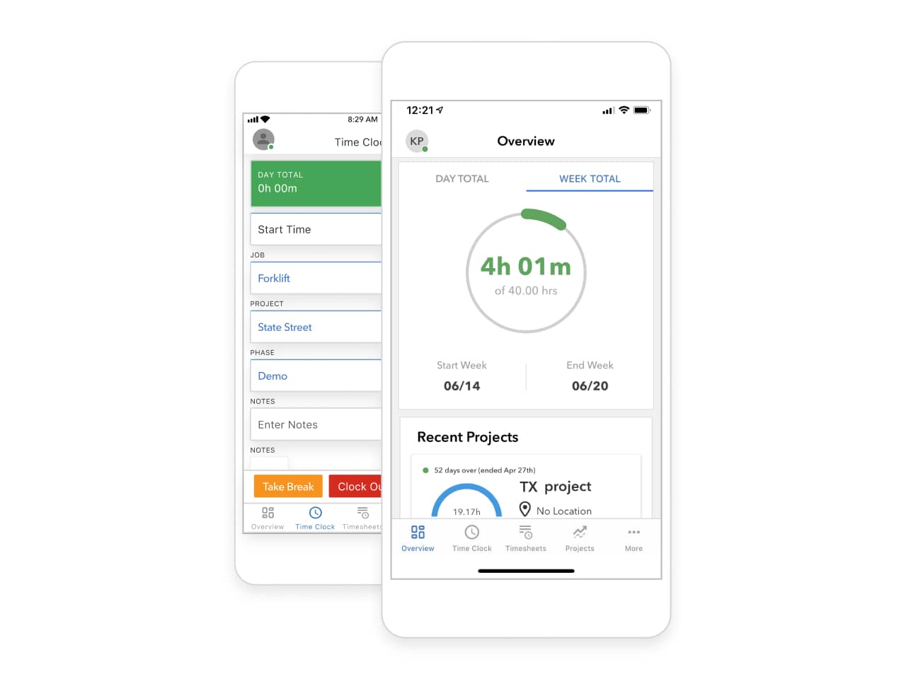 Image of phone showing how to track time on mobile with QuickBooks Time
