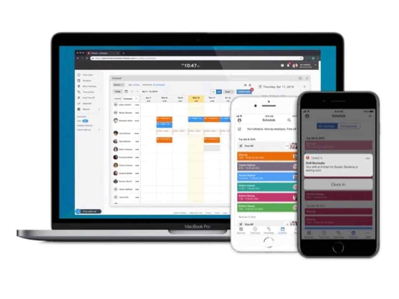 Scheduling on QuickBooks Time shown on desktop and phone
