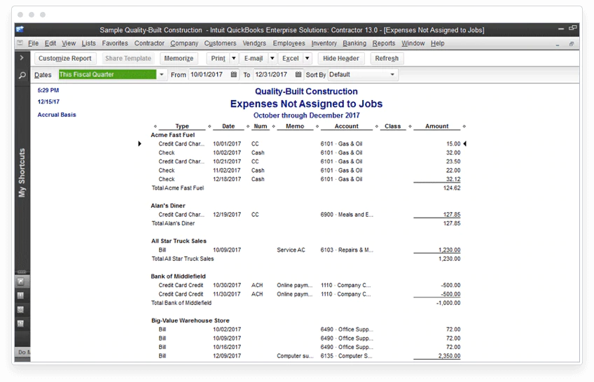 Find expenses not assigned to jobs