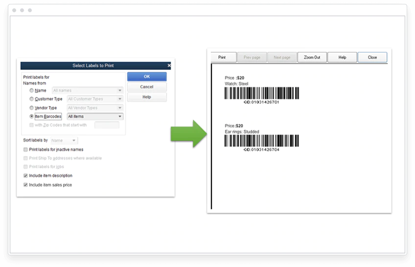 Barcode label prices