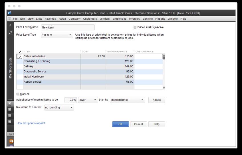 Custom price levels