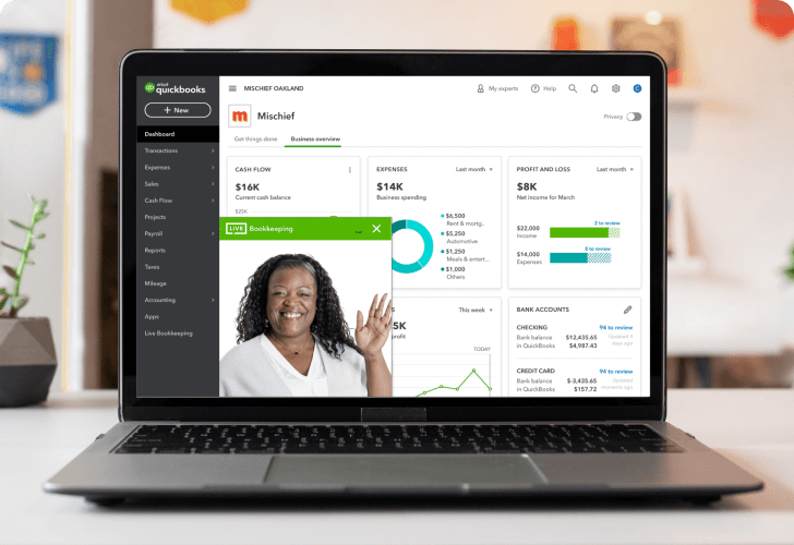 quickbooks online dashboard-product
