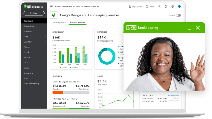 quickbooks dashboard laptop live bookkeeping