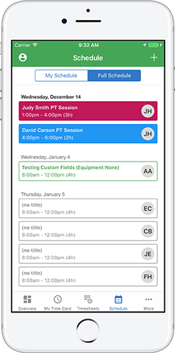 Schedule your home care workers via QuickBooks Time iPhone and Android apps.