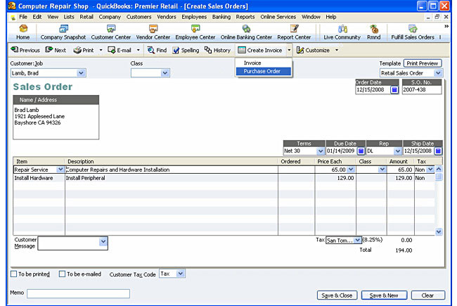 Quickbooks purchase order templates quickbooks order form for Quickbooks sales order template