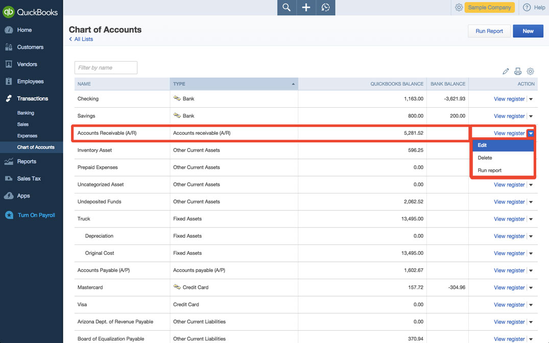 How to edit chart of accounts in quickbooks