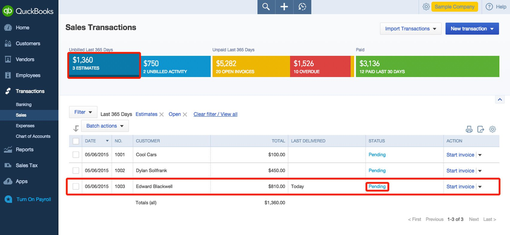 Create Estimates And Quotes In QuickBooks - Quickbooks invoice status