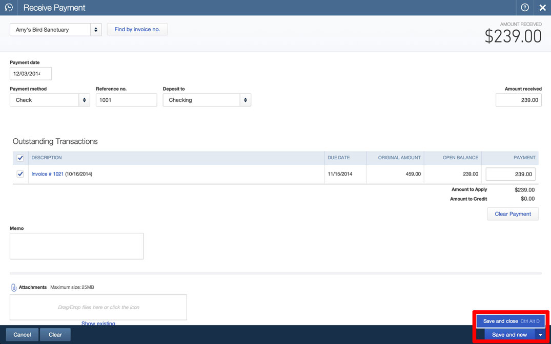 Receive Payments in QuickBooks